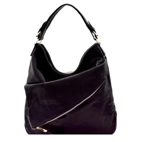 The Ocean Blue Handbags - Hobo Bag Black Vegan Leather Asymmetrical Layers